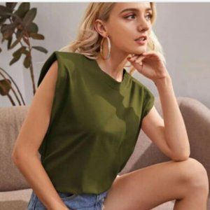 7 for all mankind padded shoulder Tee Olive 90s